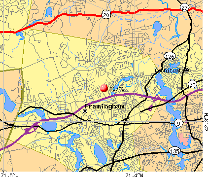 Framingham, MA (01701) map