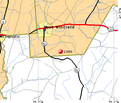 West Winfield, NY (13491) map