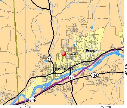 Endwell, NY (13760) map
