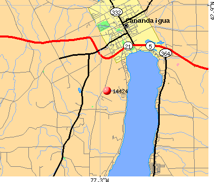 Canandaigua, NY (14424) map