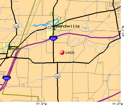 Churchville, NY (14428) map