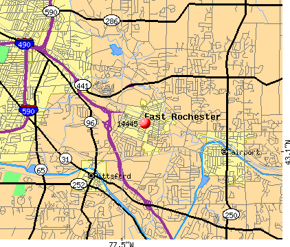 East Rochester, NY (14445) map
