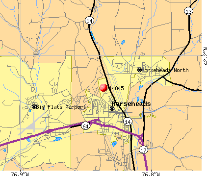 Big Flats, NY (14845) map