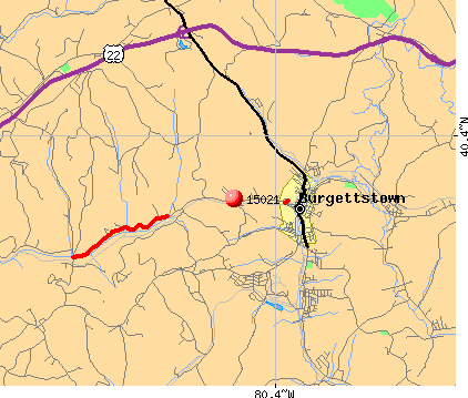 Burgettstown, PA (15021) map
