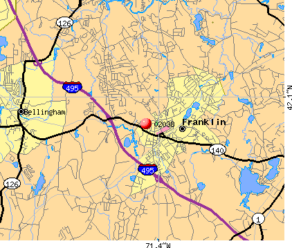 Franklin Town, MA (02038) map