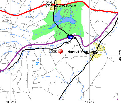 Manns Choice, PA (15550) map