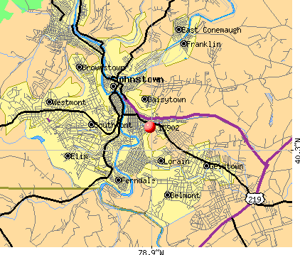 Johnstown, PA (15902) map