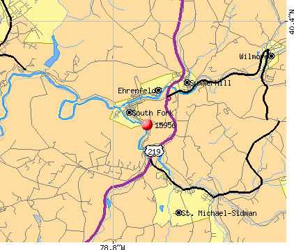 South Fork, PA (15956) map