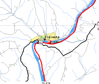 Tidioute, PA (16351) map