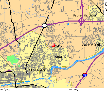Middletown, PA (18020) map