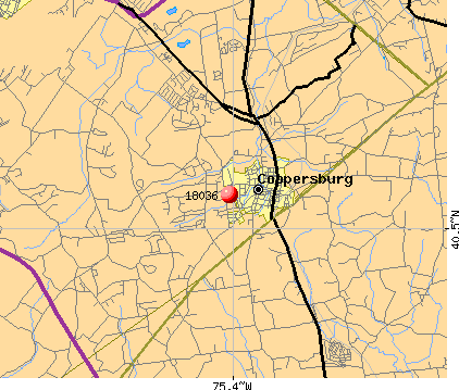 Coopersburg, PA (18036) map