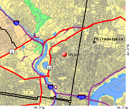 Philadelphia, PA (19132) map