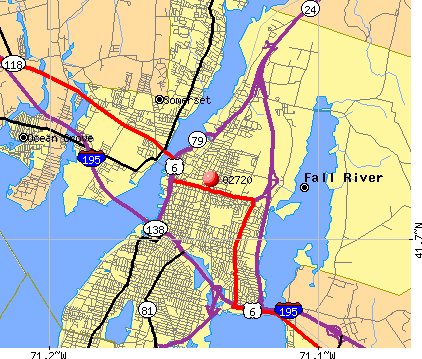 Fall River, MA (02720) map