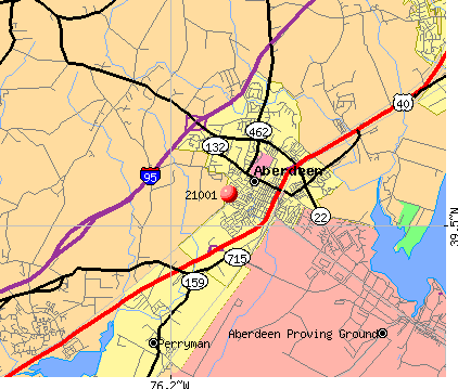 Aberdeen, MD (21001) map