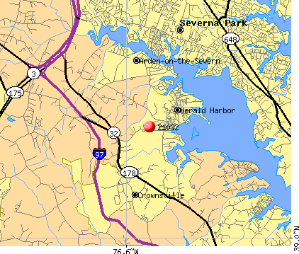 Crownsville, MD (21032) map