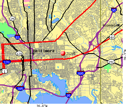 Baltimore, MD (21205) map