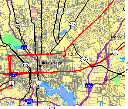 Baltimore, MD (21213) map