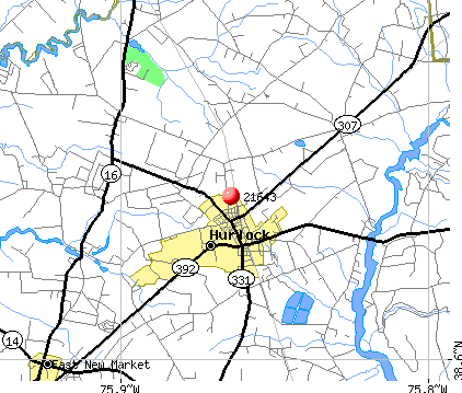Hurlock, MD (21643) map