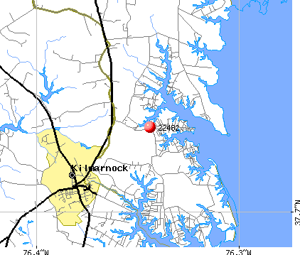 Kilmarnock, VA (22482) map