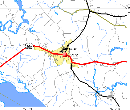 Warsaw, VA (22572) map