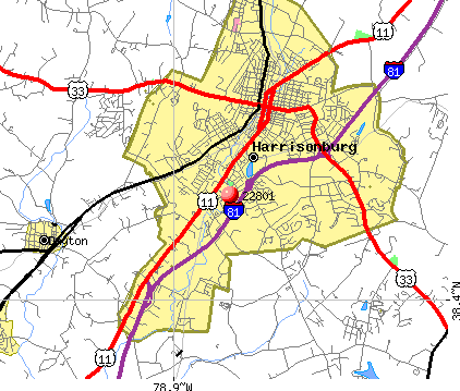 Harrisonburg, VA (22801) map