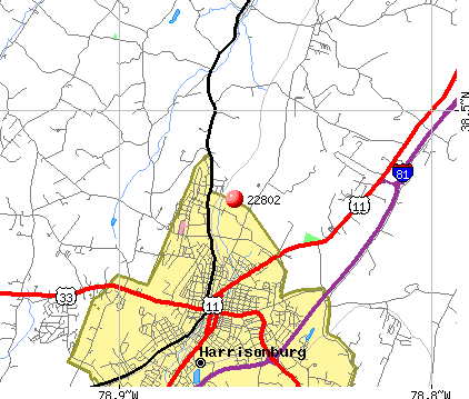 Harrisonburg, VA (22802) map