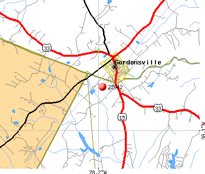 Gordonsville, VA (22942) map
