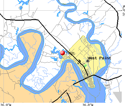 West Point, VA (23181) map