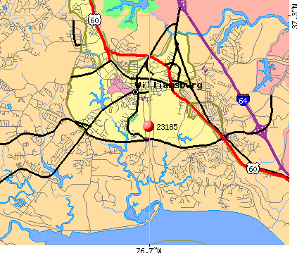 Williamsburg, VA (23185) map