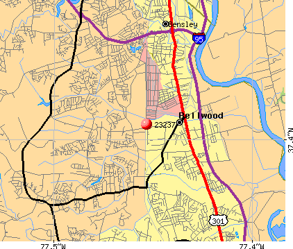 Bellwood, VA (23237) map