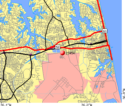 Virginia Beach, VA (23454) map
