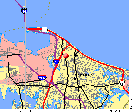 Norfolk, VA (23503) map