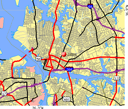 Norfolk, VA (23504) map