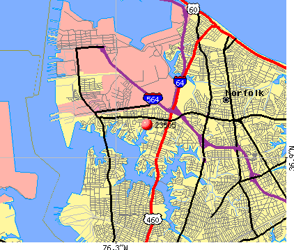 Norfolk, VA (23505) map