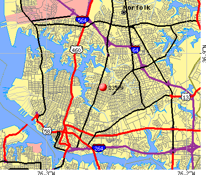 Norfolk, VA (23509) map