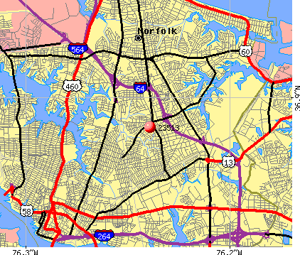 Norfolk, VA (23513) map