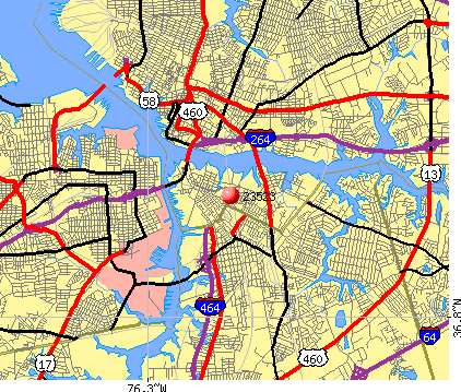Norfolk, VA (23523) map