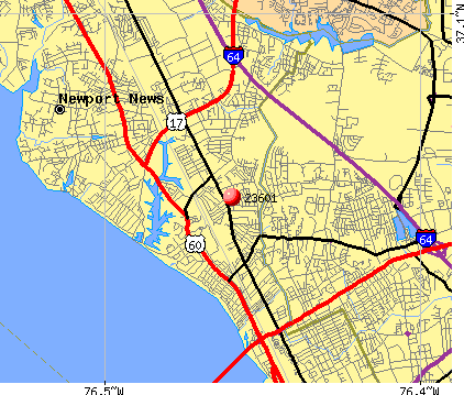 Newport News, VA (23601) map
