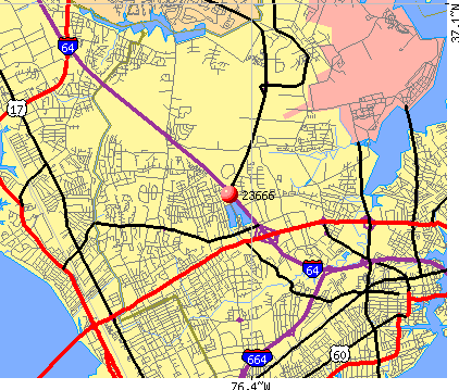 Hampton, VA (23666) map