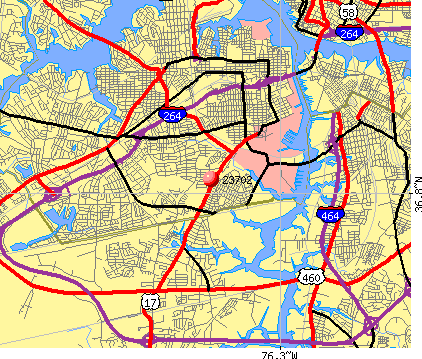Portsmouth, VA (23702) map