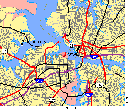 Portsmouth, VA (23708) map