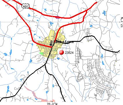 Blackstone, VA (23824) map