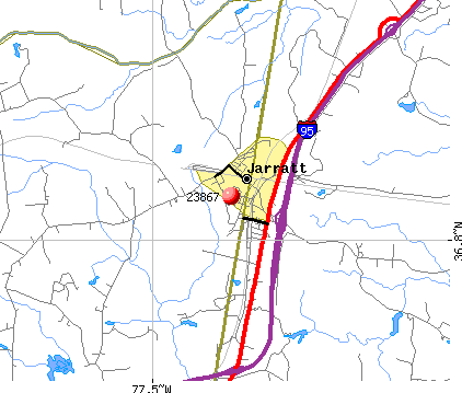 Jarratt, VA (23867) map