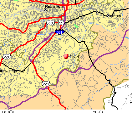 Roanoke, VA (24014) map