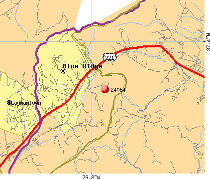 Blue Ridge, VA (24064) map