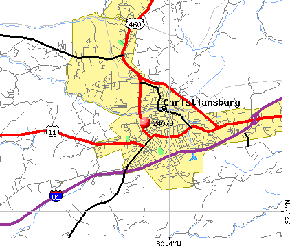 Christiansburg, VA (24073) map