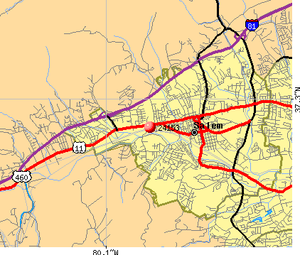 Salem, VA (24153) map