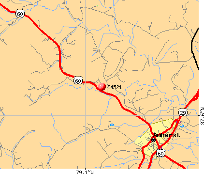 Amherst, VA (24521) map