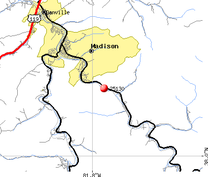 Madison, WV (25130) map