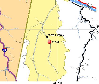 Powellton, WV (25161) map